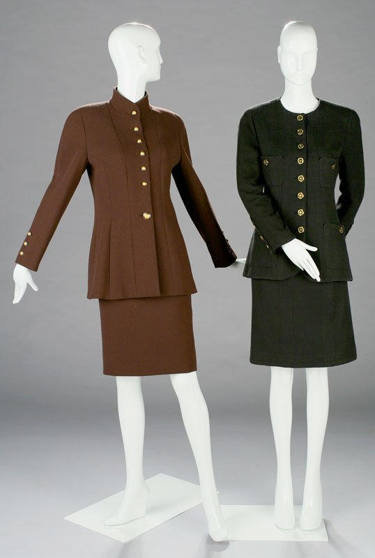 12: 2 Classic Chanel ladies suits; the first in brown