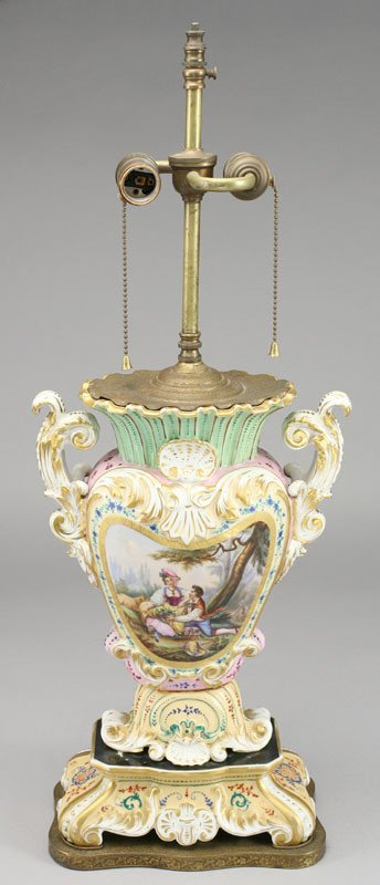13: An Old Paris porcelain urn fitted as a lamp