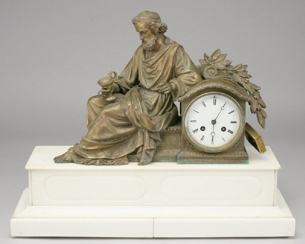 21: French bronze figural and marble mantle clock,