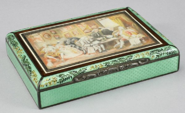 23: Austrian ivory mounted enameled sterling box,