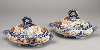 147: Pair of Meiji period Imari covered serving dishes
