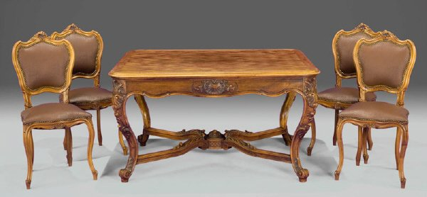 162: 5 Pcs. French provincial walnut table and chairs