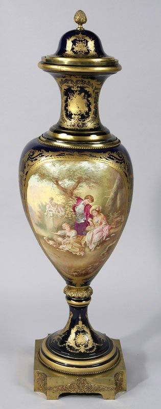 258: A monumental Sevres style porcelain covered urn
