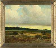 """304: Robert Wood oil on canvas titled, """"Clouds."""""""