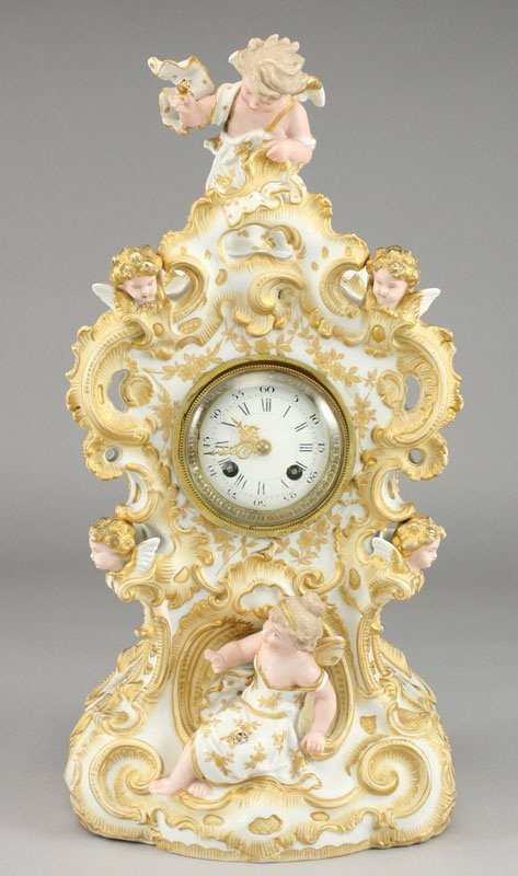 307: French Rococo style bisque mantel clock,