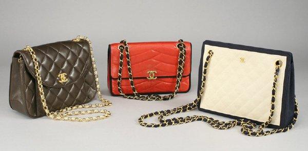 368: 3 Pcs. Vintage Chanel designer leather purses