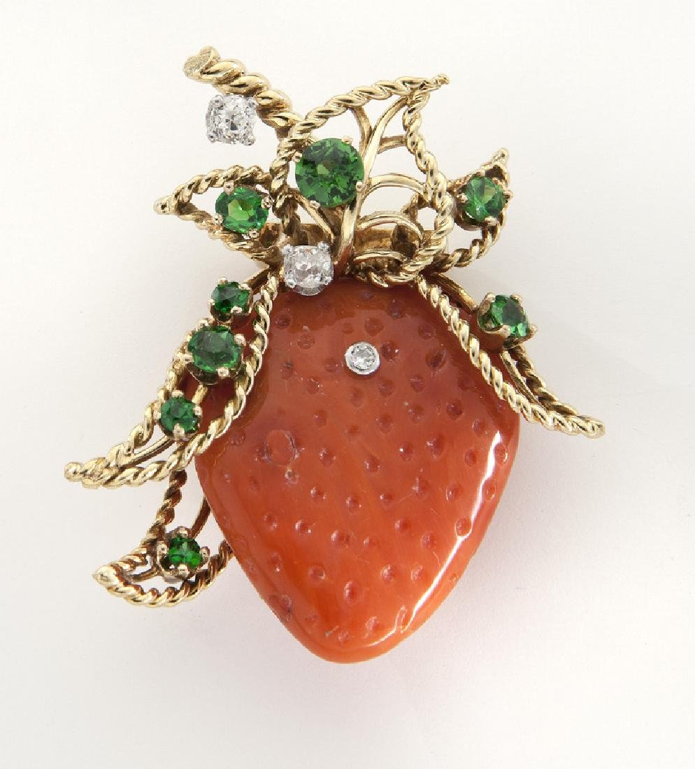Deco/Retro 18K, diamond, garnet and coral brooch