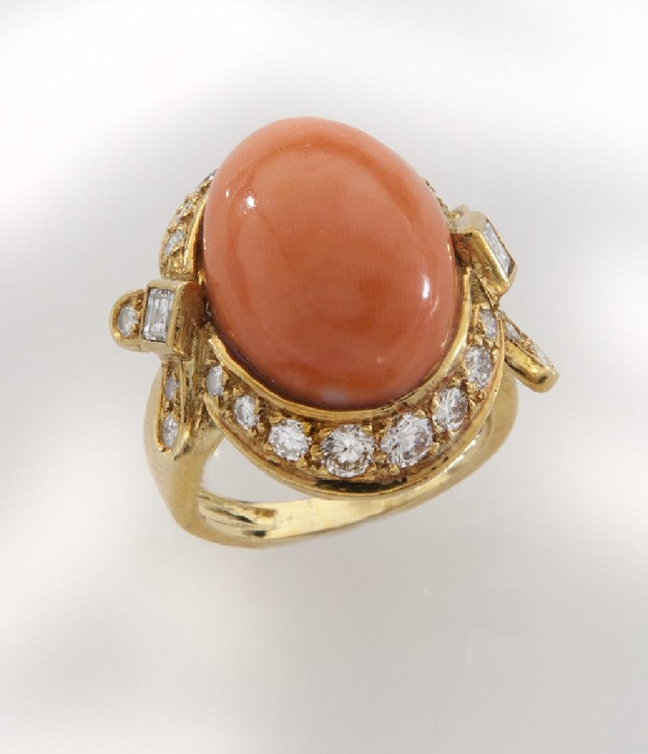 18K gold, diamond and coral ring.