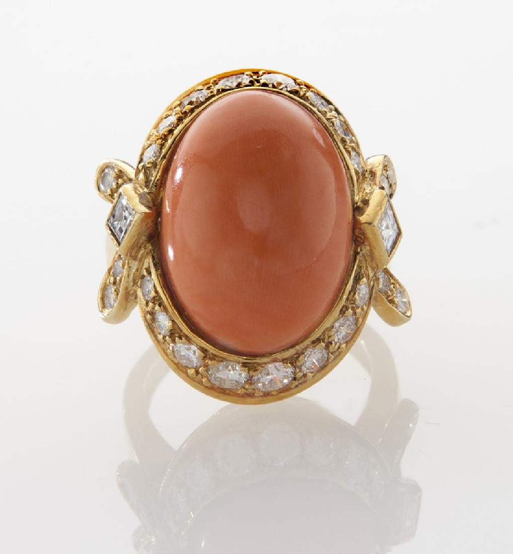 18K gold, diamond and coral ring. - 2