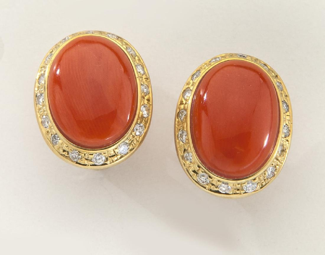 Pair of 18K gold, diamond and coral earrings