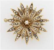 VictorianEdwardian 14K gold and seed pearl