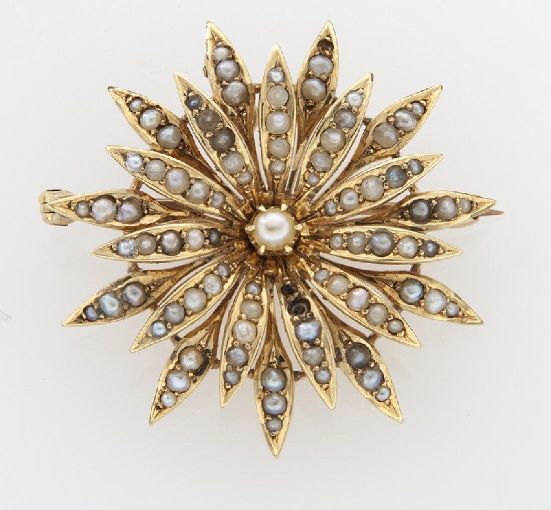 Victorian/Edwardian 14K gold and seed pearl