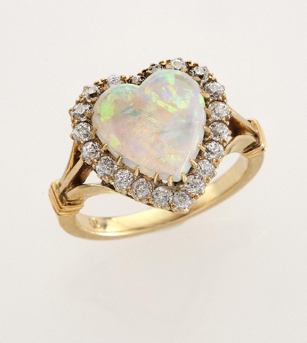 Victorian/Edwardian 18K gold, diamond and opal