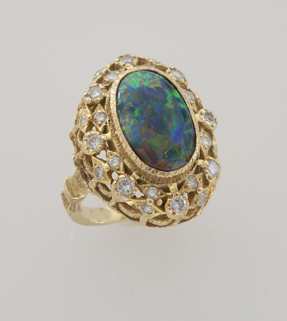 Retro 18K gold, diamond and opal ring