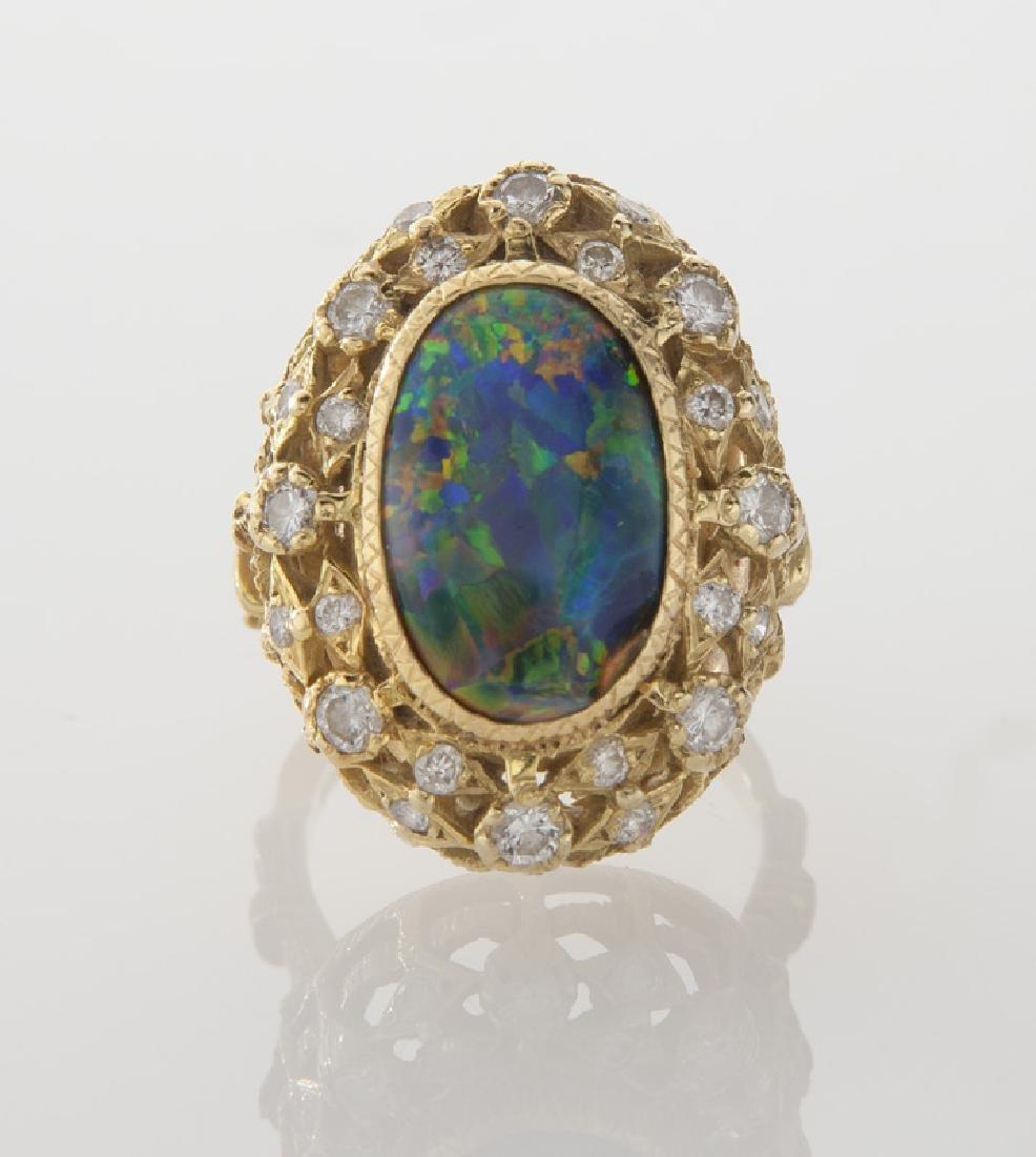 Retro 18K gold, diamond and opal ring - 2
