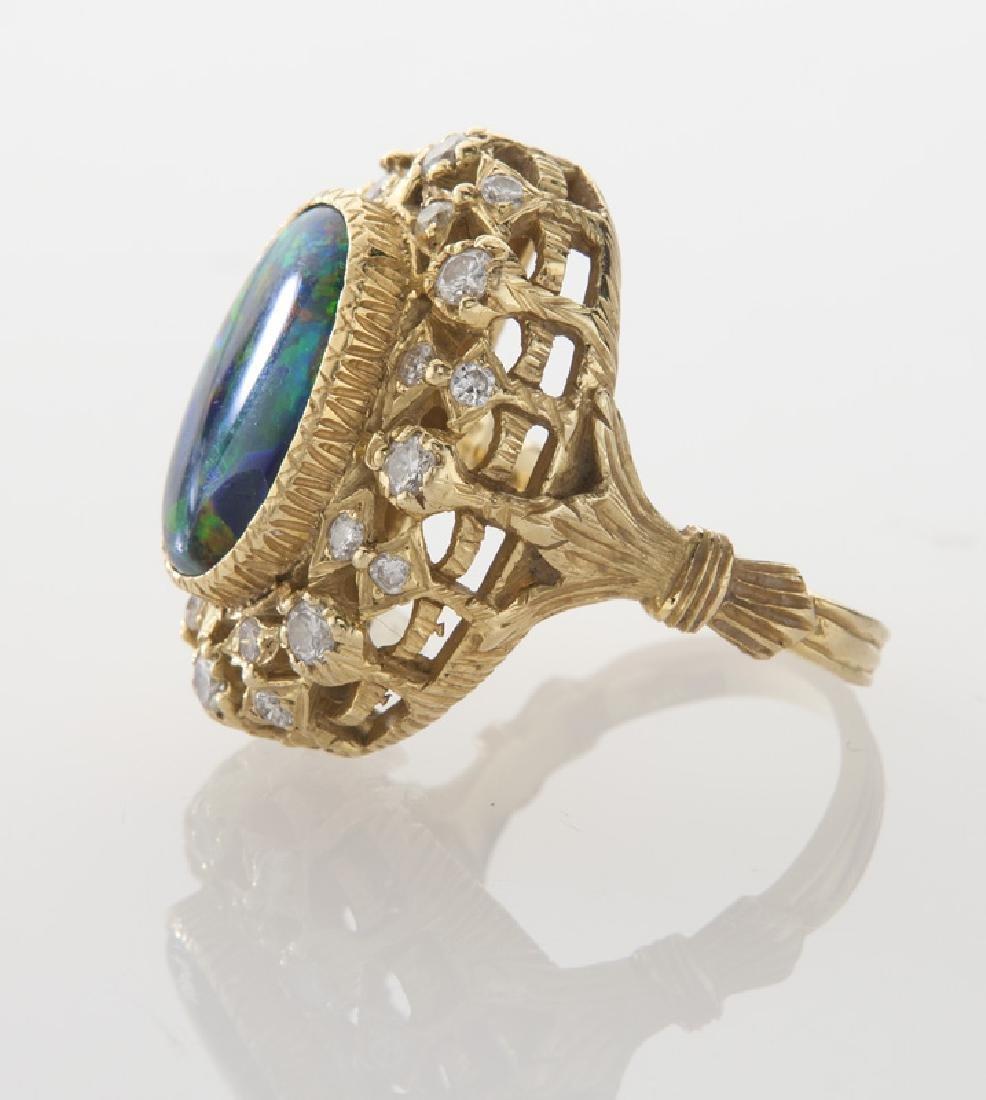 Retro 18K gold, diamond and opal ring - 3