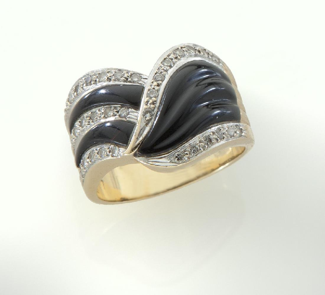 14K gold, diamond and onyx ring.