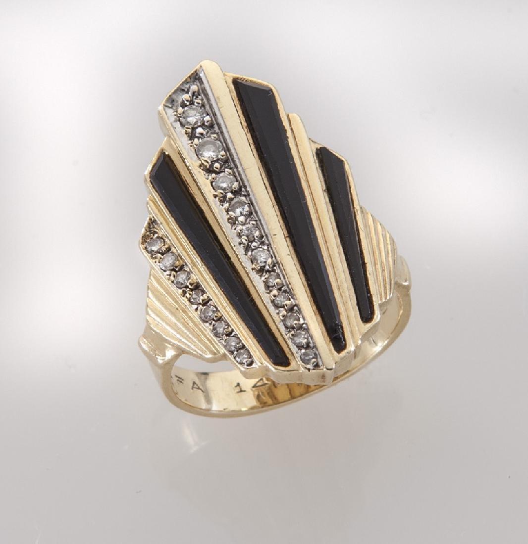 Erte 14K gold, diamond and onyx ring.