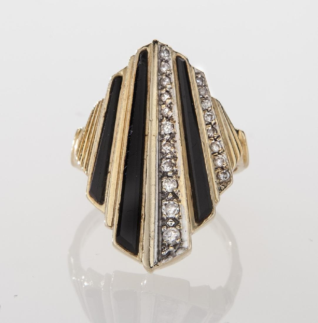 Erte 14K gold, diamond and onyx ring. - 2