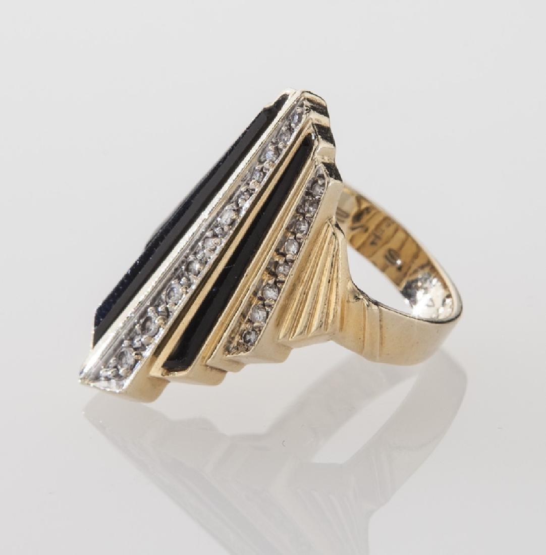 Erte 14K gold, diamond and onyx ring. - 3
