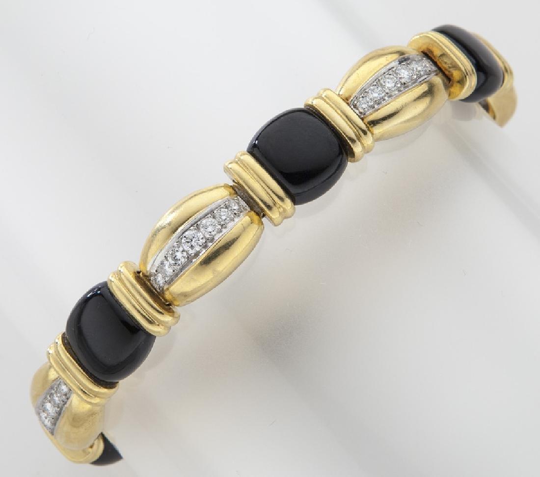 18K gold, diamond and onyx bracelet.