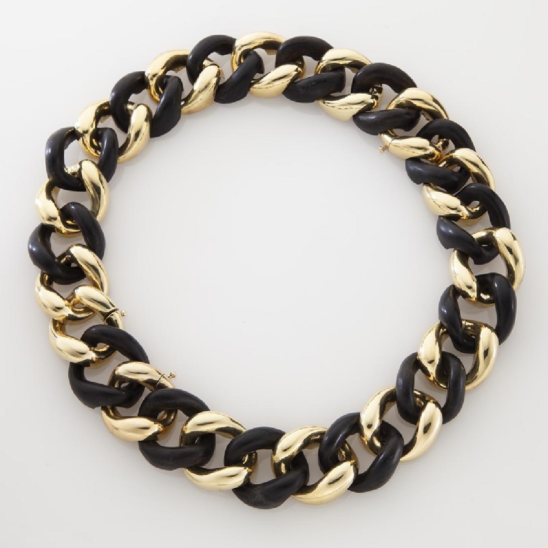 18K gold and ebony necklace/bracelet conversion