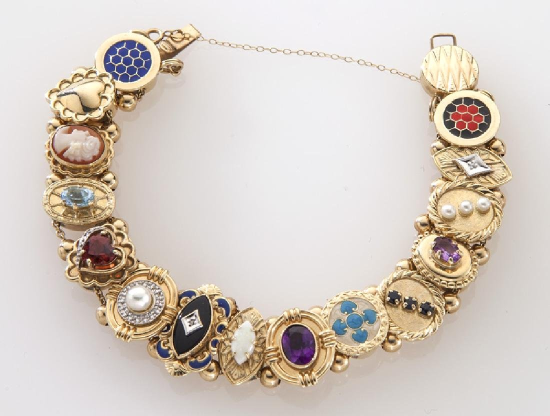 Retro 10K gold slide bracelet mounted with charms - 2