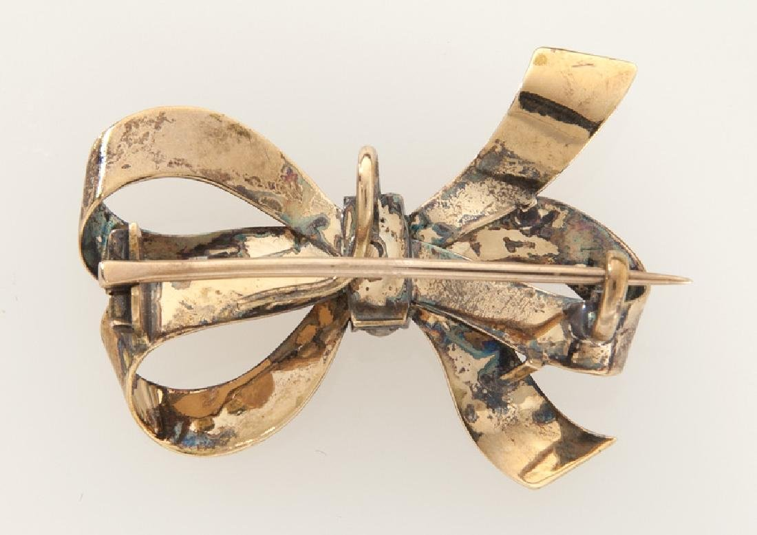 Edwardian/Deco 14K rose gold and pearl bow brooch - 2