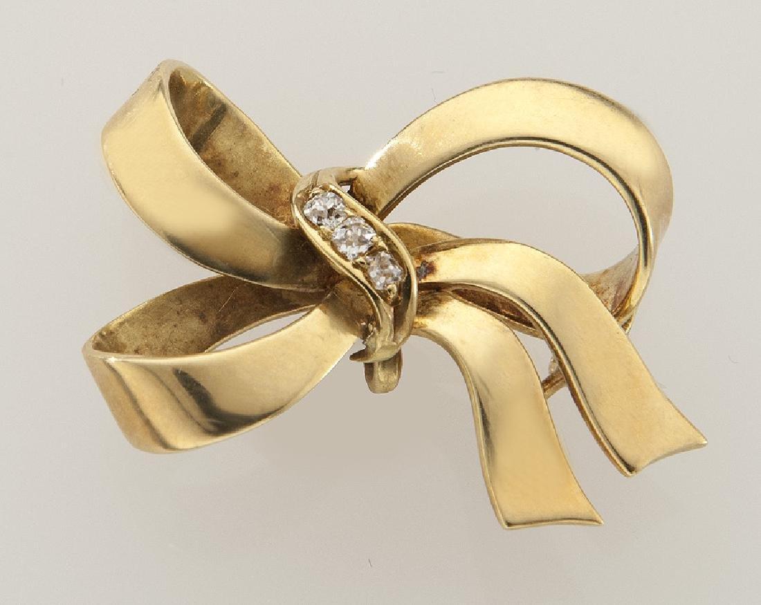 Edwardian/Deco 14K yellow gold and diamond bow