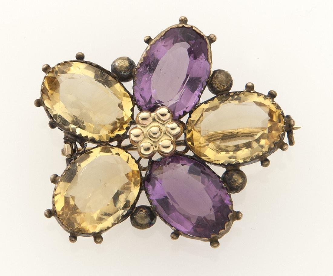 Retro 14K gold, amethyst and citrine pansy brooch.