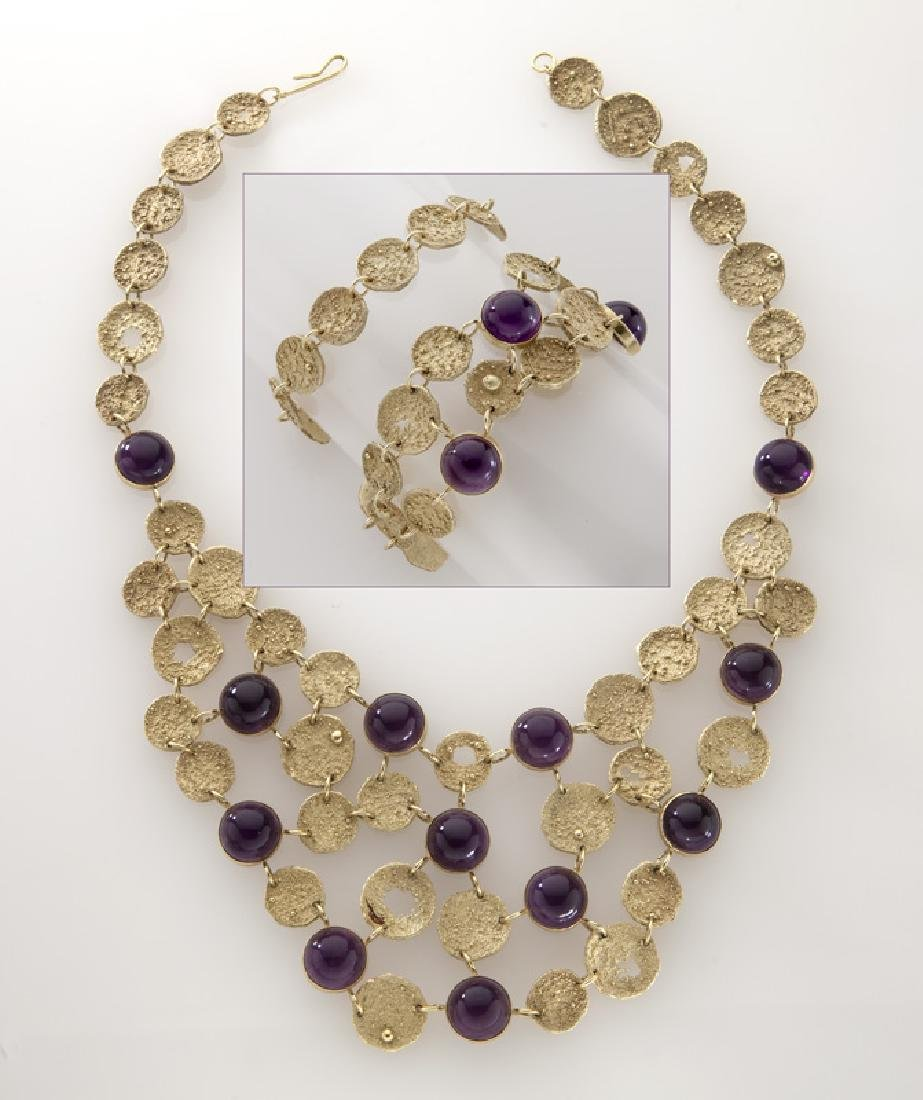 3 Pcs. 18K textured gold and amethyst jewelry,