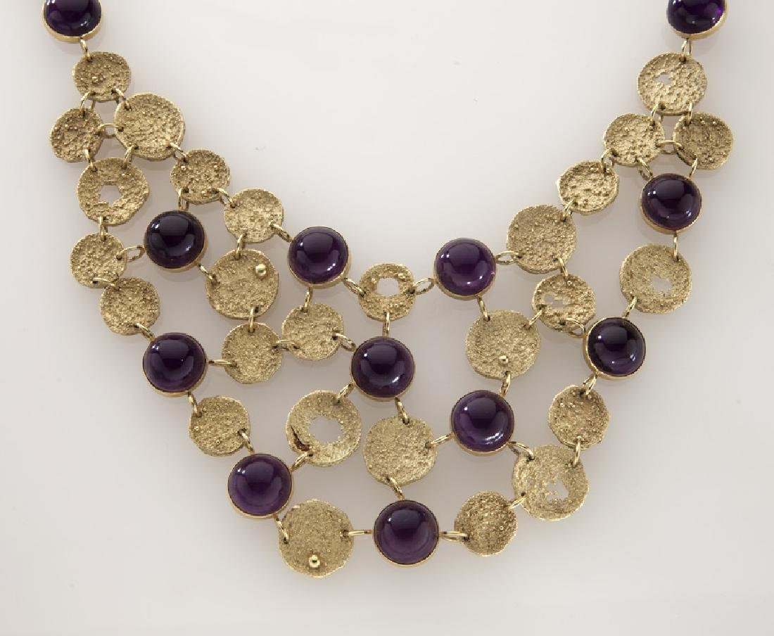 3 Pcs. 18K textured gold and amethyst jewelry, - 2