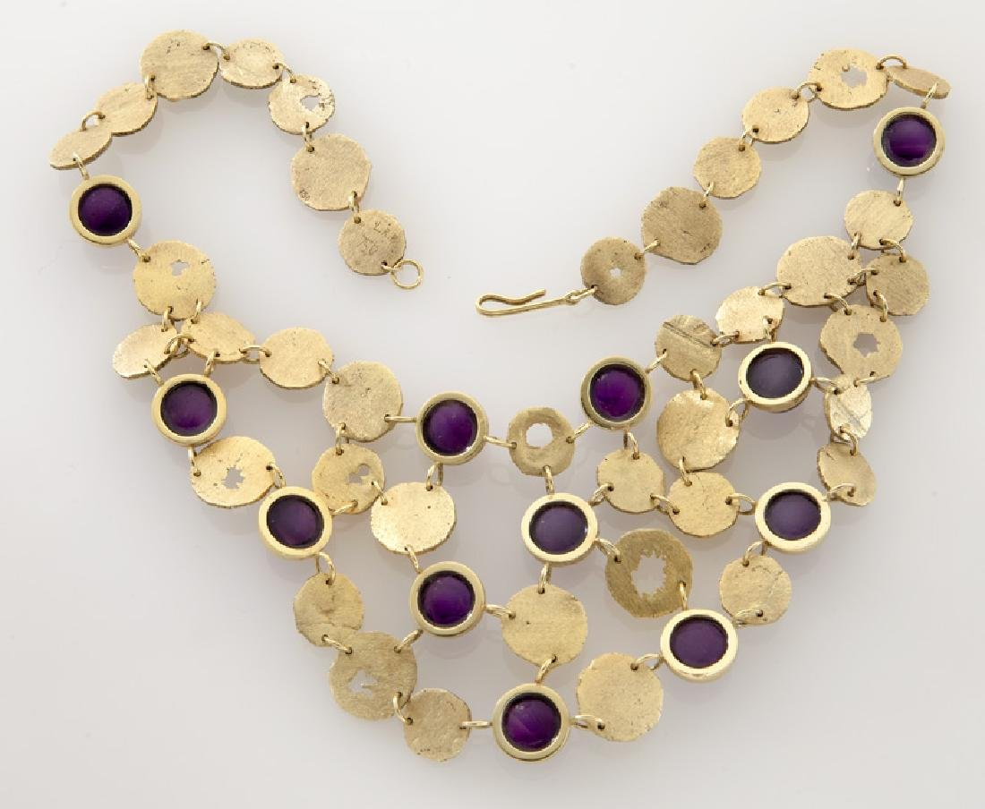 3 Pcs. 18K textured gold and amethyst jewelry, - 3