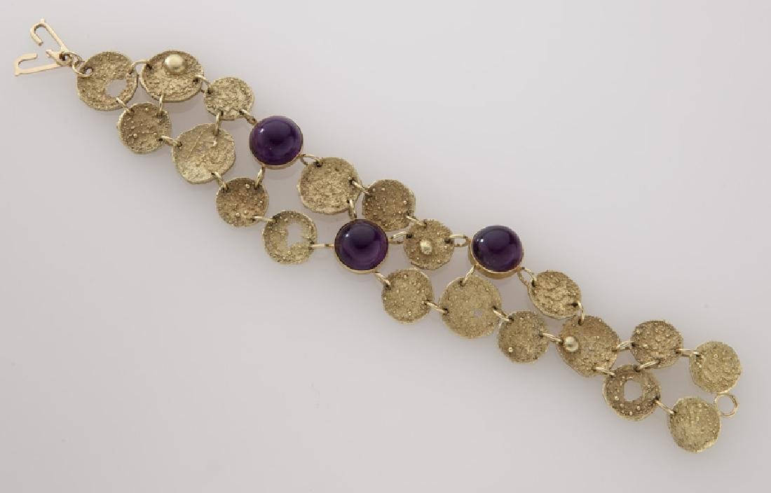 3 Pcs. 18K textured gold and amethyst jewelry, - 7