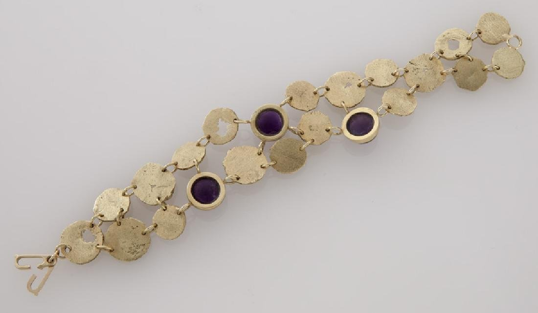 3 Pcs. 18K textured gold and amethyst jewelry, - 8