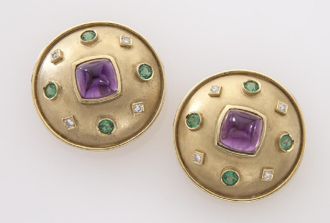 Pair of 18K, diamond garnet and amethyst earrings