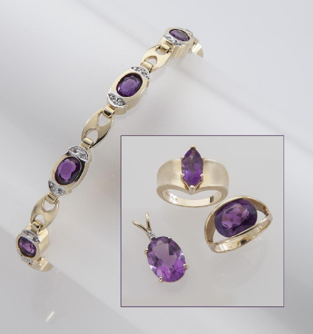 4 Pcs. 14K gold and amethyst jewelry