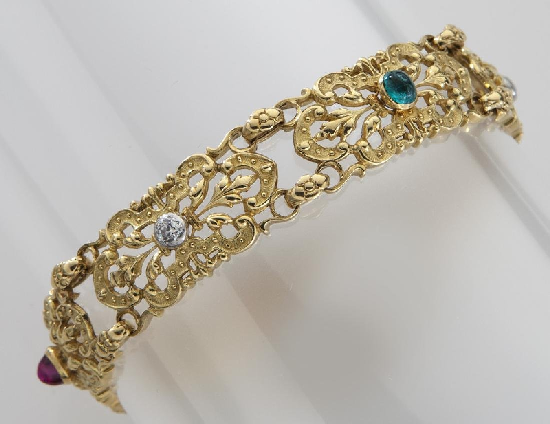 Belle Epoque 18K gold, diamond, ruby, sapphire and