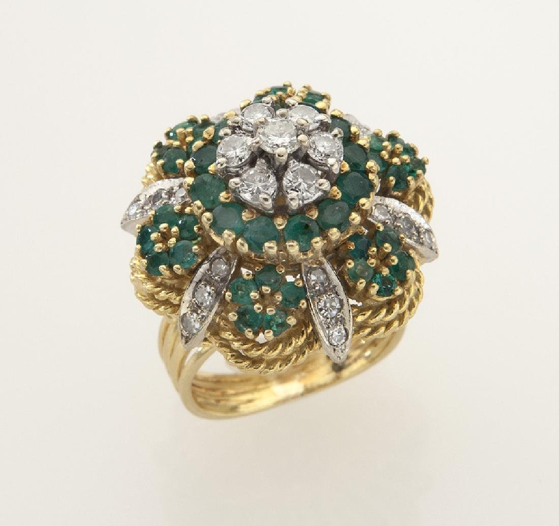 Retro 18K gold, diamond and emerald ring.
