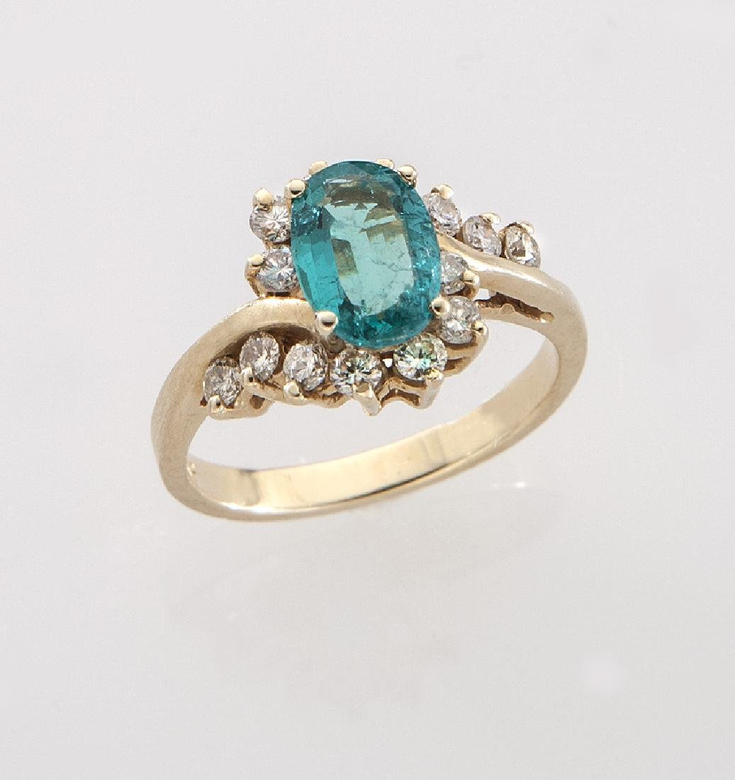 14K gold, diamond and emerald ring.