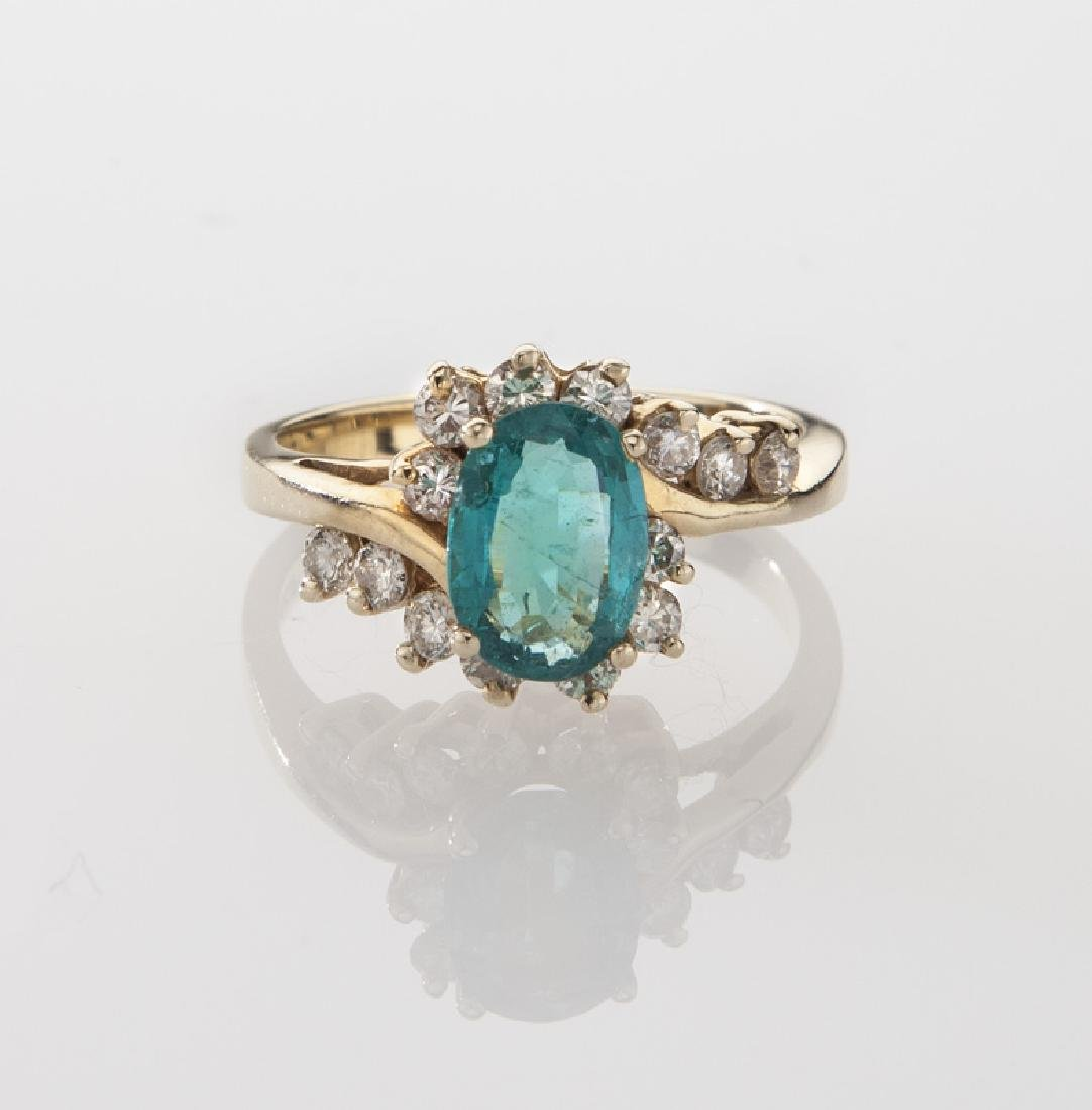 14K gold, diamond and emerald ring. - 2