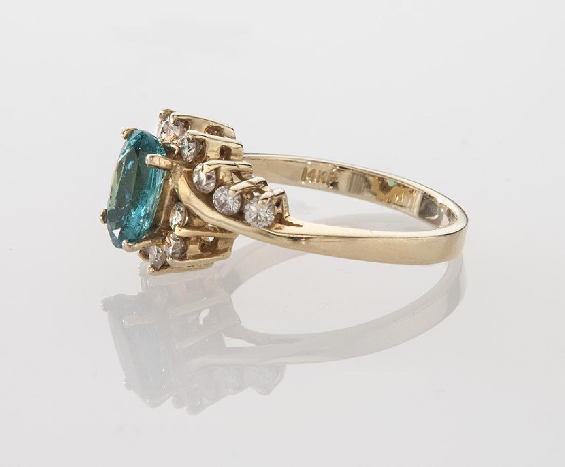14K gold, diamond and emerald ring. - 3