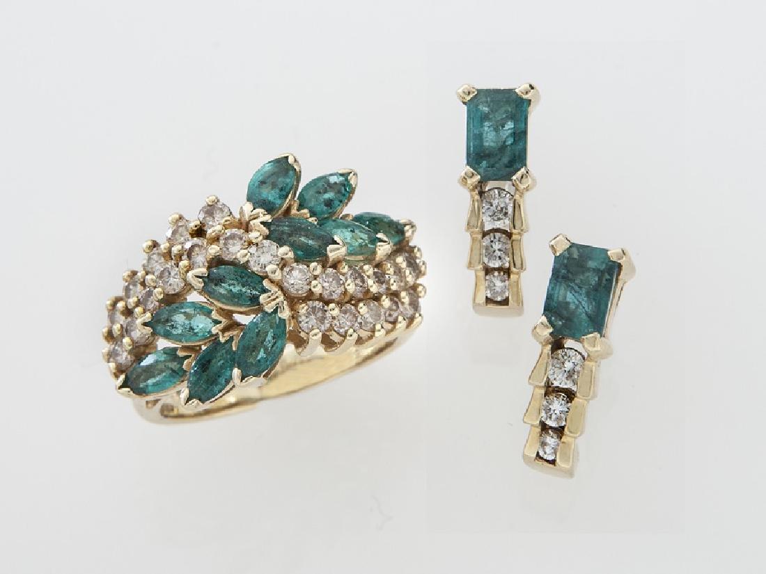 2 Pcs. 14K gold, diamond and emerald jewelry