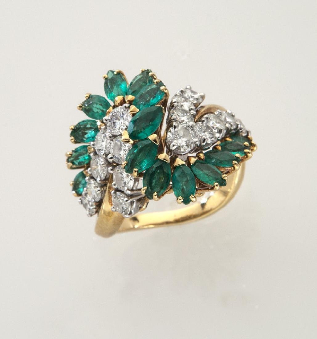 18K gold, diamond and emerald ring.