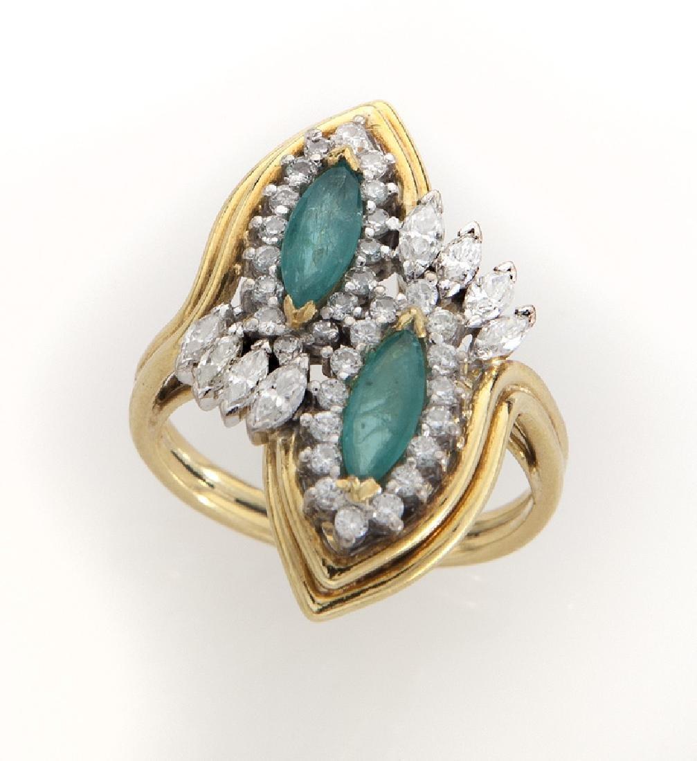 Retro 18K gold, diamond and emerald ring.