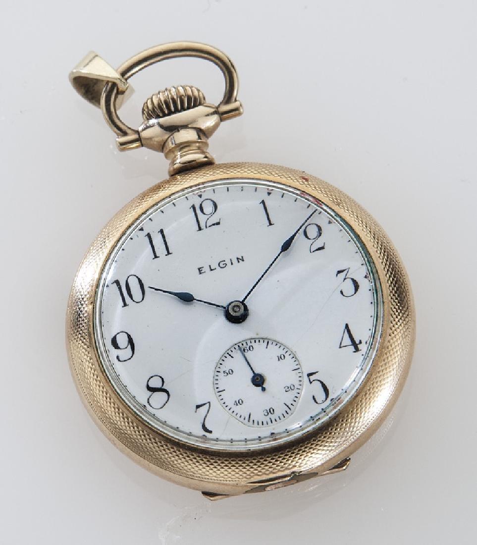 Edwardian Elgin pocket watch with engraved case,