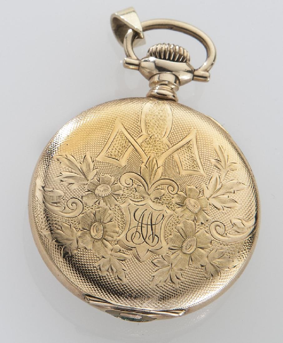 Edwardian Elgin pocket watch with engraved case, - 2