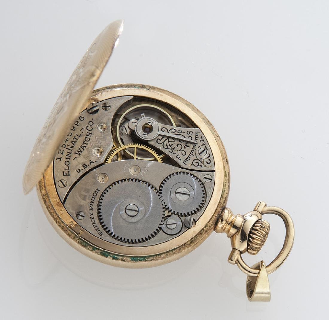 Edwardian Elgin pocket watch with engraved case, - 3