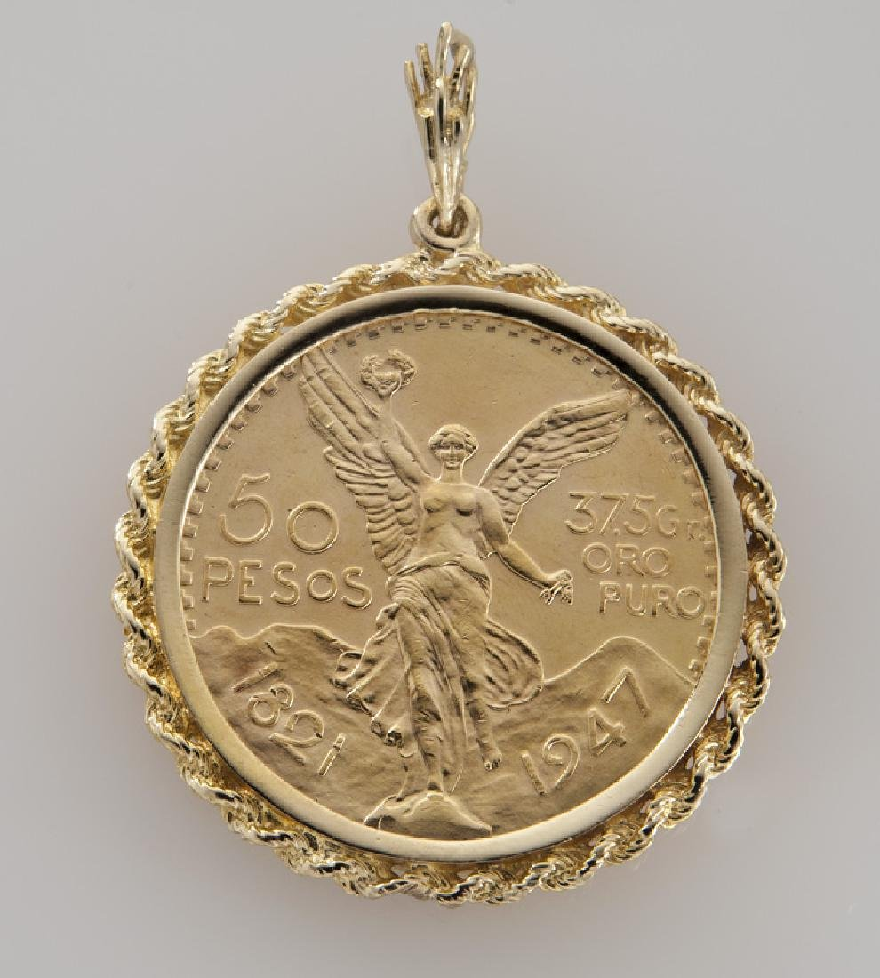 Mexican 50 Peso coin pendant in a 14K gold frame.