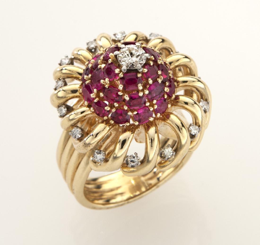 Retro 14K gold, diamond and ruby ring